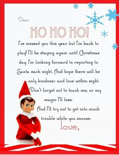 Yummy Mummy Kitchen: Elf on the Shelf Letter {free printable} - Buddy The Elf Elf On Shelf Letter, Elf Letters, Shelf Elf, Kids Letters, Free Letters From Santa, Elf On Shelf Notes, Elf On Shelf Funny, Printable Letters, Letter Templates
