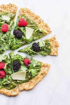 Arugula Berry Spring Pizza with Cauliflower Crust