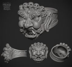 Tibetan Mask Ring b Nacho Riesco http://riesconacho.wix.com/organicjewelrydesign