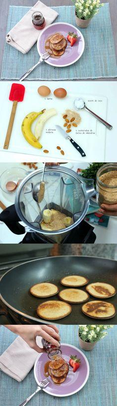Pancakes para el desayuno  - Poner todos los ingredientes en la licuadora. Licuar hasta tener una consistencia cremosa.  - Calentar una sartén con un poco de aceite de coco. Poner la masa por cucharadas y dorar por ambos lados.  - Acompañar con miel de maple.  - Rinde para 18 panqueques pequeños.  - 100% congelables  TIP: Puedes congelarlos ya hechos en un tupper, separados por cuadraditos de papel manteca.