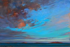 'Rolling Sky Over Winchelsea Islands'  Vancouver Island BC  (field study) 16 X 20 in. oil on canvas.  - copyright Brent Lynch