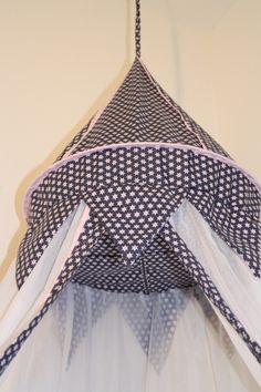 Betthimmel - Betthimmel Sterne Blau rosa - ein Designerstück von maralinchen-textilraum bei DaWanda