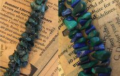 Green & Blue Stone Chips Beads, Lapis, Malachite, Olive Adventurine or Jade…