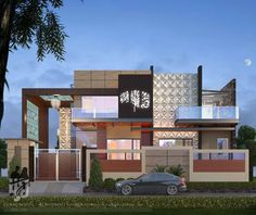 #modernvilla #ExteriorDesign #3DRENDERING NIGHT #streetview BY www.hs3dindia.com #cgi @nirlepkaur_id