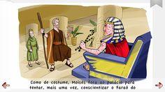 Moisés conversando com Faraó