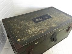Vintage WWII Era Military Trunk with Removable by VintageRoundtree