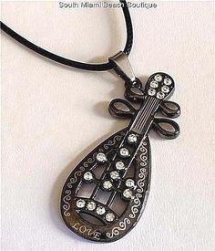 Stainless Steel Mandolin Guitar Necklace Pendant Italian Folk Music Instrument #SouthMiamiBeachBoutique #Pendant