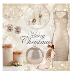 """""""A Champagne Very Merry Christmas!"""" by onesweetthing ❤ liked on Polyvore featuring Pier 1 Imports, Hervé Léger, Sophia Webster, Halston Heritage and Anne Klein"""