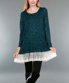 Look at this #zulilyfind! Teal Lace Ruffle-Hem Tunic #zulilyfinds