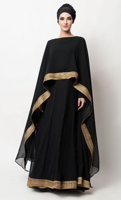 - Gold embroidered lace border drape dress Gold embroidered lace border drape dress Add to wishlist Islamic Fashion, Muslim Fashion, Modest Fashion, Fashion Dresses, Mode Abaya, Mode Hijab, Fashion Mode, Abaya Fashion, Abaya Designs
