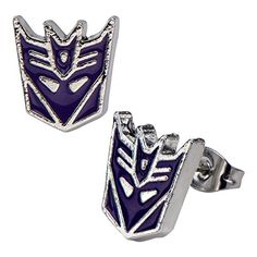 Transformers Stainless Steel Post Decepticon Stud Earrings, Purple. Stainless Steel. Transformers. Stud Steel Post Earrings. Officially licensed product. Makes a great gift!.