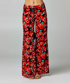Look what I found on #zulily! Coral Floral Palazzo Pants - Women by Dare #zulilyfinds