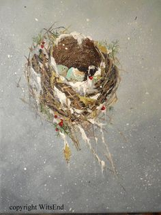 'A WINTER NEST'  painting original ooak art bird nest and eggs by 4WitsEnd, via Etsy