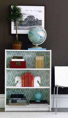 wallpaper to decorate bookshelf