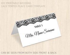 Printable wedding place card template by PrintableWeddingDIY, $8.00