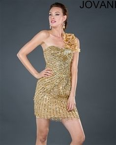Jovani 6353 Colors: Gold, Navy Retail price: $550.00       Our price: $375.00 Do you want all eyes on you ?! you will be noticed from the second you inter the room with this short gold one shoulder dress. www.srdlooks.com