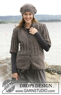 "DROPS 103-15 - The set consist of: A knitted DROPS jacket with long or ¾-long sleeves and a beret in ""Angora-Tweed"". Size S to XXXL - Free pattern by DROPS Design"