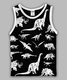 Look at this #zulilyfind! Black & White Dinosaurs Tank - Toddler & Boys #zulilyfinds