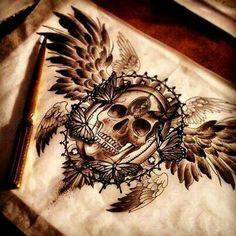 Amazing shaded, winged skull tattoo