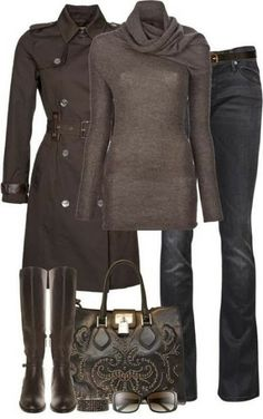 Long Boots Long Trench Coat Purse and Perfect Eyeglasses style fashion