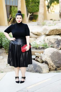 Plus size turtleneck and leather skirt by 'Sometimes Glam'. For more inbetweenie and plus size style ideas go to www.dressingup.co.nz