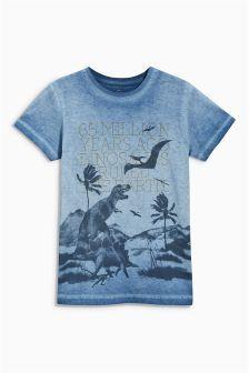 Blue Dino Print T-Shirt (3-16yrs)