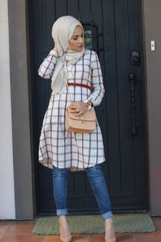 Checked shirt with belt and jeans - check out: Esma Hijab Casual, Hijab Outfit, Hijab Chic, Hijab Fashion 2016, Dubai Fashion, Modest Fashion, Girl Fashion, Fashion Outfits, Modest Wear