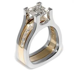 Interlace Collection - 2.04ct Princess Cut Diamond set in Platinum and 18K Yellow Gold.
