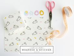 Easter Bunny Wrapping Paper & Egg Stickers | DESIGN IS YAY!