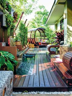 30 Collection of Backyard Landscaping Layout Design Ideas Water features abound in this gorgeous display of a patio and garden. A fountain is placed in the middle of a wooden deck and is surrounded by large plants. Landscape Design, Garden Design, House Design, Backyard Patio, Backyard Landscaping, Backyard Ideas, Backyard Designs, Pool Ideas, Pergola Ideas