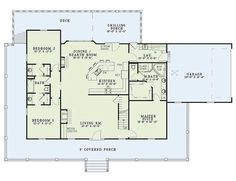 House Plan #17-415 at Houseplans.com (I don't like the interior layout, but I like the 3-side wraparound porch [front and back are connected])