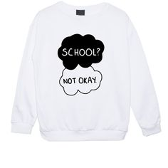 MLSHOPSS School Not Okay Sweater Jumper Women's Girls Ladies Fault in... ($22) ❤ liked on Polyvore featuring tops, hoodies, sweatshirts, shirts, sweaters, black, women's clothing, shirts & tops, star print shirt and black top