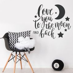Moon & Back Quote Love Stars Wall Sticker Baby Nursery Idea Decal Decor