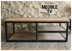 Custom TV stand to find on www.ducotedelatel … Source by cotedelatelier Industrial Tv Stand, Industrial Furniture, Iron Furniture, Furniture Design, Tv Stand Decor, Tv Cabinets, Wood And Metal, House Styles, Home Decor