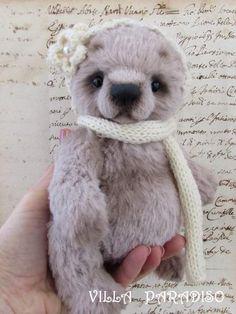 Alina, small artist teddy bear by By Tatyana Kazayeva Villa Paradiso | Bear Pile collectible toy, art teddy, ooak bear