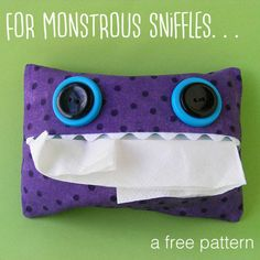 Monster tissue case - a free pattern from Shiny Happy World