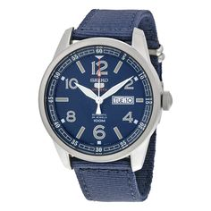 Seiko 5 Sports Automatic Blue Dial Blue Canvas Men's Watch SRP623
