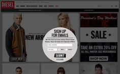 Diesel Online Store | newsletter | email form | email | email marketing | lead generation | email pop up | signup form | e-mail