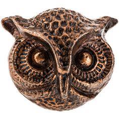 Antique Copper Metal Owl Face Knob