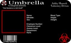 Umbrella Corporation Black Card ID Cards Cosplay Props