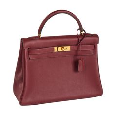 Estate Hermès Kelly Burgundy Leather Handbag