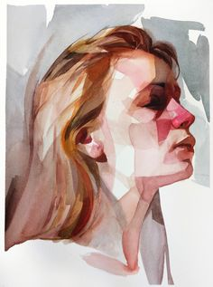 Gestural Brush Strokes and Focused Color Palettes Form Watercolor Portraits by Nick Runge Colossal # Watercolor Portrait Tutorial, Watercolor Art Face, Watercolor Portraits, Portrait Paintings, Watercolor Trees, Watercolor Artists, Watercolor Landscape, Art Paintings, Self Portrait Drawing