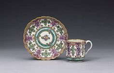 A Worcester 'Holly Berry' coffee cup and saucer circa 1775-78
