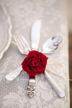 Cutlery with soft ribbon & a rose bud @Ali Velez Wells