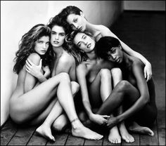 The young:  Stephanie Seymour, Cindy Crawford, Tatjiana Patitz, Christy Turlington, and Naomi Campbell.  As photographed by Peter Lindbergh.