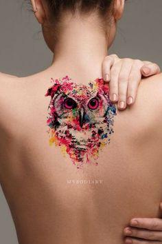 Cool Watercolor Owl Temporary Back Tattoos Ideas for Women - Acuarela búho tat. - Cool Watercolor Owl Temporary Back Tattoos Ideas for Women – Acuarela búho tatuaje ideas para m - Tribal Owl Tattoos, Girly Tattoos, Wolf Tattoos, Back Tattoos, Body Art Tattoos, Small Tattoos, Temporary Tattoos, Black Owl Tattoo, Tatoos