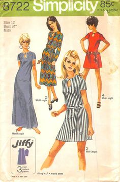 SIMPLICITY 8722 - FROM 1970 - UNCUT - MISSES JIFFY DRESS IN THREE LENGTHS