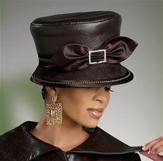 Donna Vinci Hat 5398  [DVH5398]  Metal Stud Accent Faux Leather Hat.