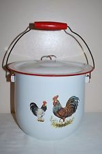Vintage Enamel Chamber Pot W/Lid - Wire/Wood Handle - Chicken/Rooster Decoration