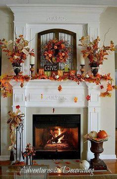 beautiful fall mantle & fireplace decor…the concept of falling leaves is too adorable. beautiful fall mantle & fireplace decor…the concept of falling leaves is too adorable. Decoration Evenementielle, Fall Mantel Decorations, Mantel Ideas, Mantels Decor, Halloween Decorations, Thanksgiving Decorations Outdoor, Table Decorations, Turkey Decorations, Christmas Decorations